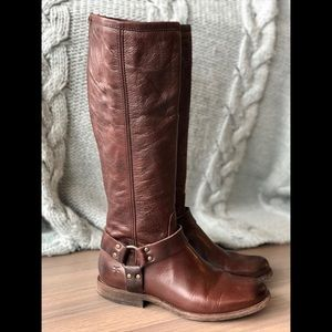 FRYE Phillip Harness Tall Brown Boots